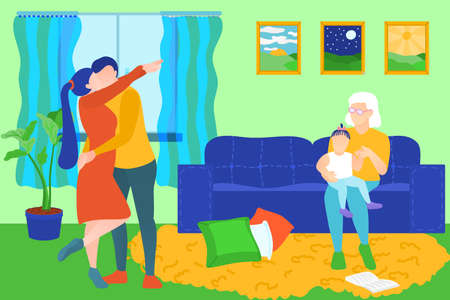 Family members spending time at home. Happy family couple embracing, grandma sitting on sofa and holding little granddaughter on her knees. Cosy room interior flat vector illustration