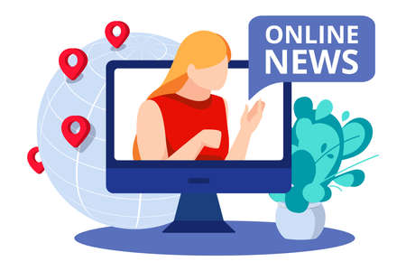 Online breaking news concept banner. News presenter or journalist woman broadcasting online on monitor. Live stream on computer screen advertising, poster design flat vector illustration