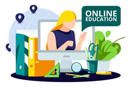 E-learning, online education concept banner. Female teacher teaching on computer monitor via Internet. Distance education live video call banner, poster design flat vector illustration