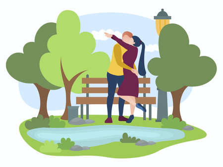 Couple of people in love walking in park. Man and woman hugging and kissing on romantic date. Scene of boyfriend and girlfriend dating in city park flat vector illustration 矢量图像