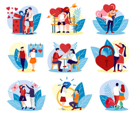 Romantic couples having date set. Happy couple in love spending time and relaxing together. Young man and woman having dinner, walking in park, dancing, making proposal flat vector illustration 矢量图像