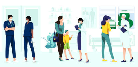 Professional doctors consulting patients set. Pediatrician medical treatment. Patients visiting doctor for medical check up. Hospital service, medical support concept cartoon vector illustration