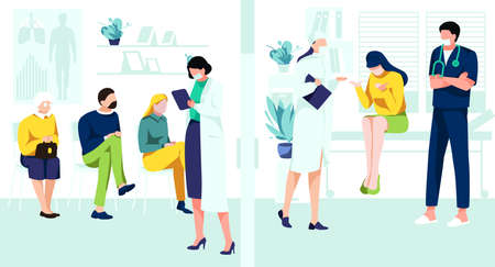 Patients waiting in queue in clinic hall. Patients visiting doctors for medical check up and treatment. Hospital service, medical support, healthcare and medicine concept cartoon vector illustration 矢量图像