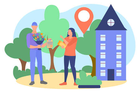 Express delivery service concept. Courier delivering bouquet of tulip flowers to young woman. Delivery boy carrying gift to clients home flat vector illustration