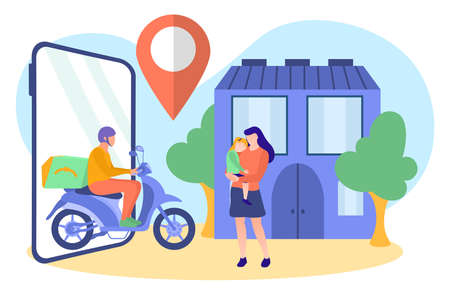 Fast online delivery service concept. Courier on motorbike carrying parcel to young woman with baby in her hands. Online shop goods delivery flat vector illustration