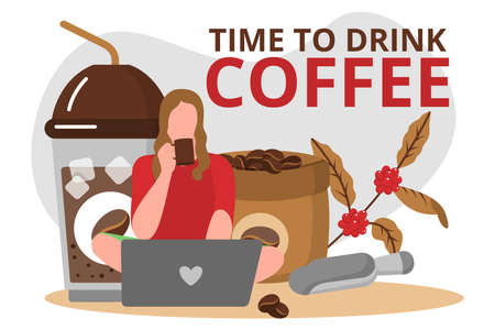 Time to drink coffee banner template. Girl working with laptop and drinking hot aroma beverage. Sack of coffee beans and takeaway cup. Coffeehouse, cafe, restaurant design flat vector illustration