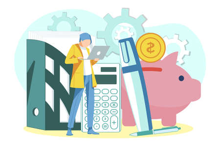 Business person saving money concept. Tiny businessman working with laptop computer in office. Business investments, banking, financial planning, money accumulating flat vector illustration 矢量图像