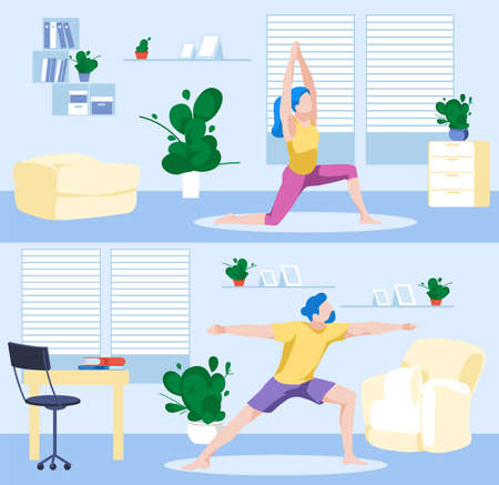 People practicing yoga at home set. Man and woman stretching and meditating in yoga postures. Healthy lifestyle, morning fitness activities, workout. Stay at home concept flat vector illustration