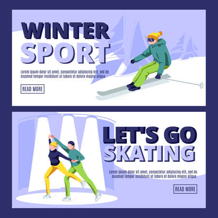 Winter sport landing page template. Let is go skating website interface. Winter season outdoor activities and sports concept cartoon vector illustration