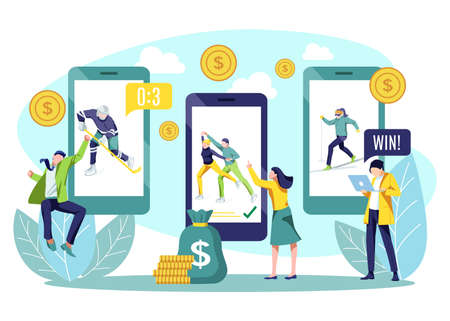 Betting sport online. Tiny people doing sports bets using smartphone app. Hockey, figure skating, skiing online sports with betting people and digital related asset flat vector illustration
