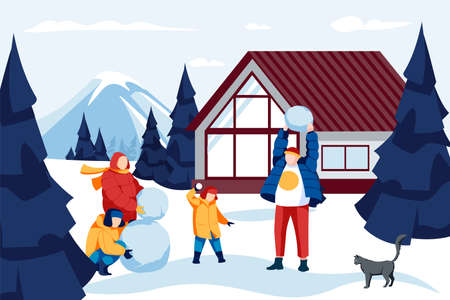 People making snowman together. Family in winter outfit spending time together and having fun on holidays in ski mountain resort. Parents and kids playing snowballs cartoon vector illustration 矢量图像