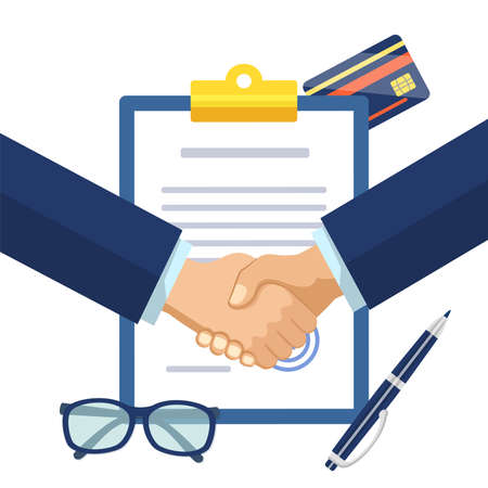 Businessmen shaking hands on signed contract. Firmly partners handshake after signing contract agreement to closing deal. Business agreement, successful partnership concept flat vector illustration 矢量图像