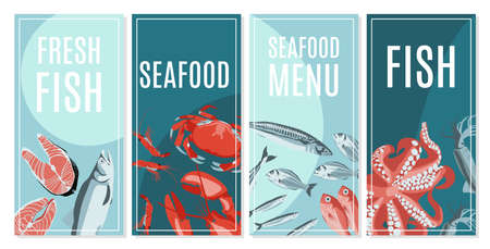 Fresh seafood card templates set. Seafood restaurant menu, fish market, shop design. Flyer, promotional banner, packaging with natural nutritious marine fishes and creatures flat vector illustration