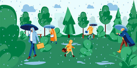 People walking in park under rain. Men, women and children walking with umbrellas dressed in raincoats at rainy day. Spring or summer season concept cartoon vector illustration