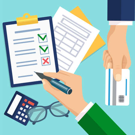 Businessman signing checklist with pen. Top view of male hands with clipboard and credit card. Loan, agreement for banking services flat vector illustration
