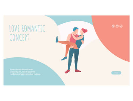 Love romantic concept web page template design Vektorgrafik