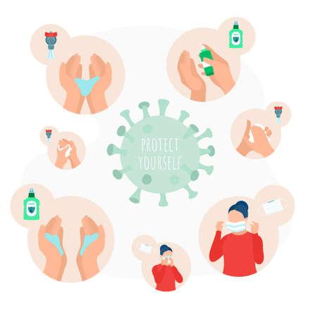 Stop virus and disease prevention concept set 矢量图像