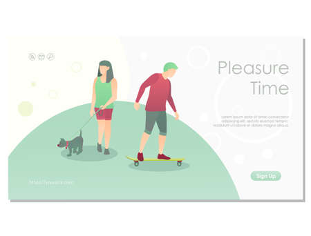 Walking in the park landing page template 矢量图像
