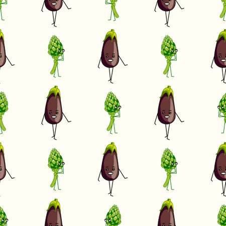 Healthy vegetables characters seamless pattern. flat vector illustration