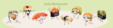 Sushi restaurant banner template, cartoon vector illustration.