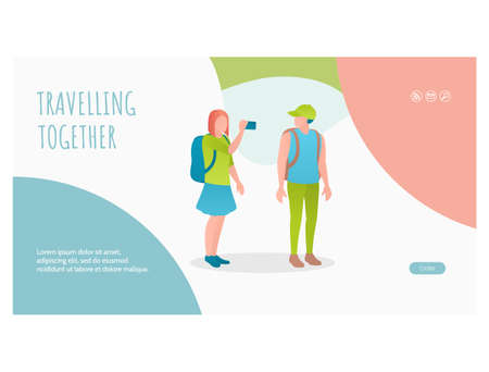 Travelling together on vacation web page template
