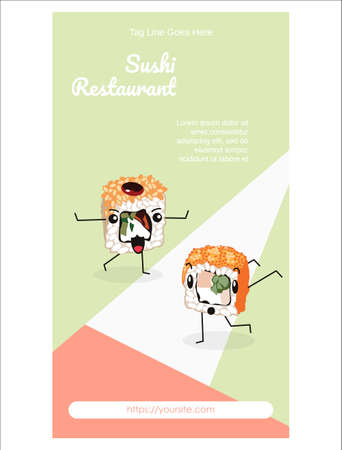 Sushi restaurant mobile app onboard screen design