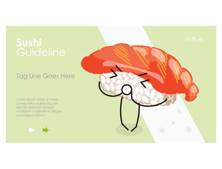 Sushi guideline web page interface design template 矢量图像