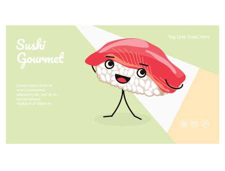 Sushi landing page template. kawaii vector illustration