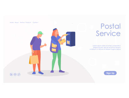 Courier service landing page template vector illustration 矢量图像