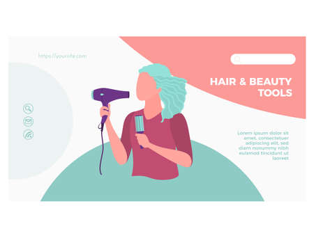 Hair and beauty tools landing page template