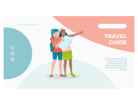 Travel guide web page interface design template