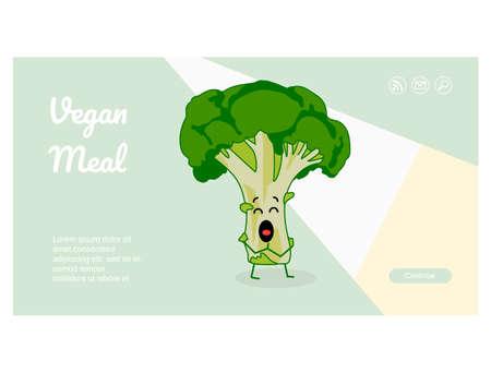 Diet food online store web banner cartoon character vector illustration