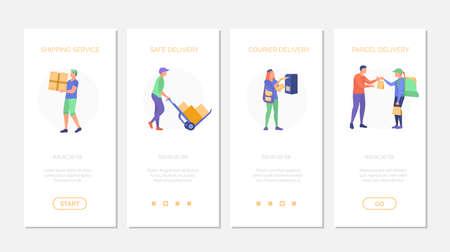 Fast delivery service onboard screens set vector illustration 矢量图像