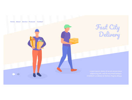 Courier service landing page template. flat vector illustration 矢量图像