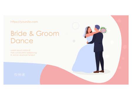 Wedding couple landing page flat vector design 矢量图像