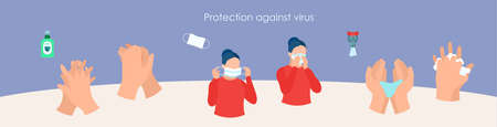 Stop virus and disease prevention concept set Ilustração