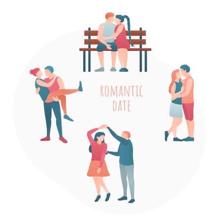 Set of happy romantic couples in love