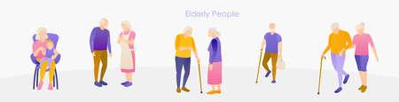 Elderly senior old people activity banner template