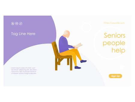 Senior people help web page design template