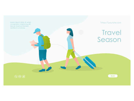Travel season web page flat design template