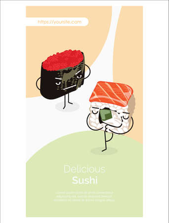 Delicious sushi mobile app funny roll characters