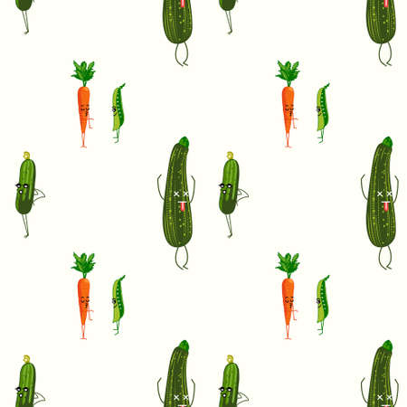 Healthy vegetable characters pattern. Ilustração
