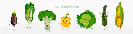 Funny vegetables characters banner template. flat vector illustration