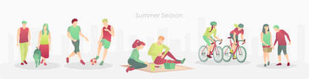 Sport and relaxation concept banner flat vector illustration 矢量图像