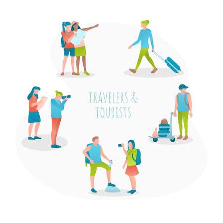 Travel concept flat design vector illustration set