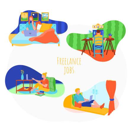 People working online at home set. Ilustração