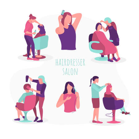 Women hairdressers working with clients set. flat vector illustration
