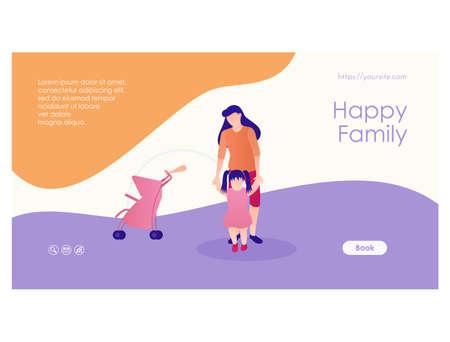 Happy family landing page flat design template 矢量图像