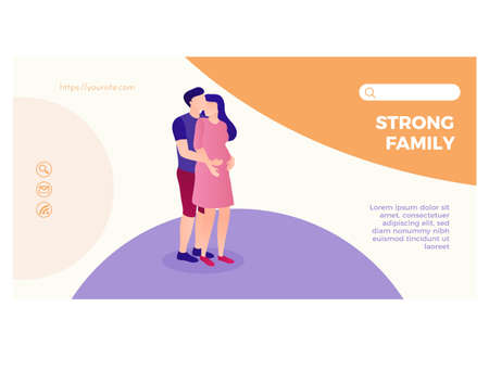 Strong family landing page flat design template