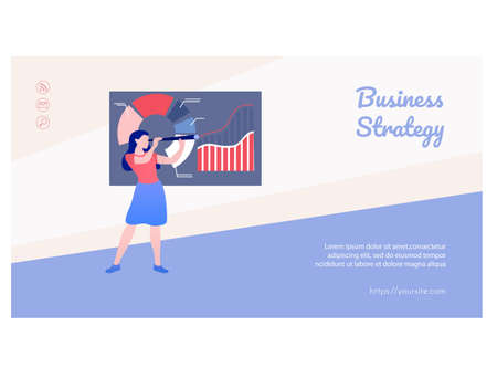 Business strategy web page template flat design 矢量图像